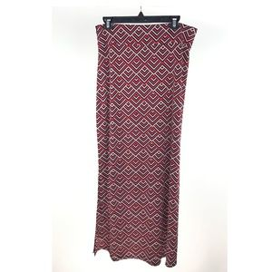 BCBG Maxazria Red Navy Blue Geometric Maxi Skirt